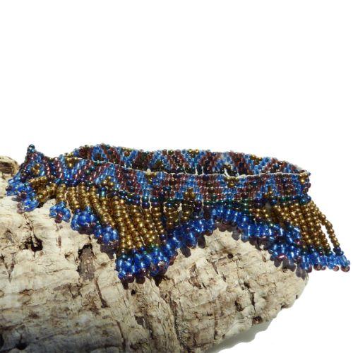 Bracelet de cheville en perles de rocailles Franges Bleu Bronze