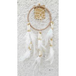 Attrape-Rêves Beige Plumes Blanches Perles Bois & Os - Dreamcatcher