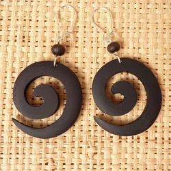 Boucles d'Oreilles en bois Spirales avec perles en bois