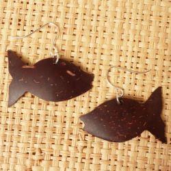 Boucles d'oreilles forme Poissons en noix de coco