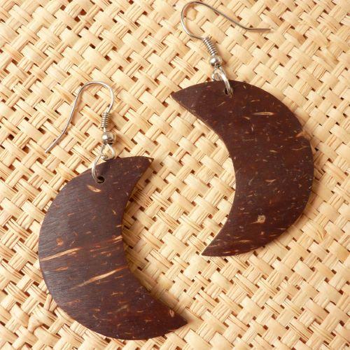 Boucles d'oreilles forme Lunes en noix de coco