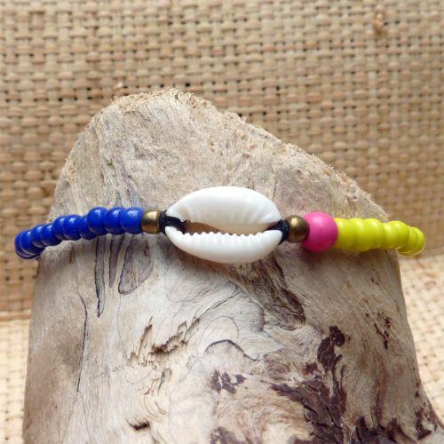 Bracelet cauri original ajustable perles bleues jaunes et rose