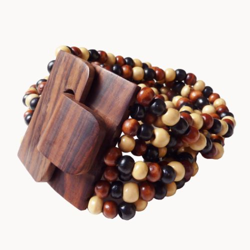 Bracelet en bois Original Fermoir et Perles en bois