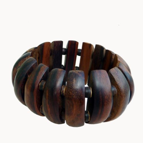 Bracelet en bois exotique naturel et perles en noix de coco