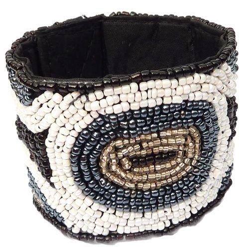 Bracelet manchette en perles de rocaille brodées Noir Blanc Gris