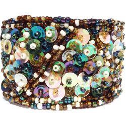 Bracelet manchette Broderie en perles de rocaille et sequins Chic et Original