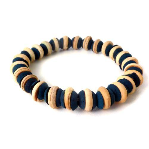 Bracelet surf perles en noix de coco Bleu et beige Homme ou Mixte