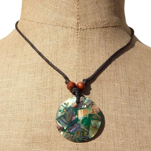 Collier cordon pendentif nacre abalone sur résine
