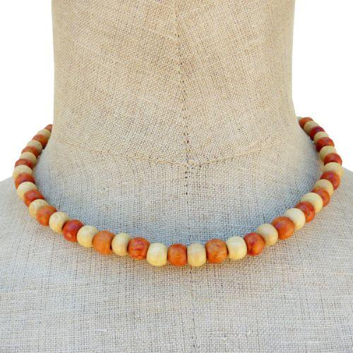 Collier en bois bicolore perles rondes en bois clair et teinté