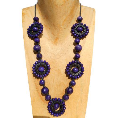Collier Soleil Violet et noir original en perles de bois  - Artisanat de Bali