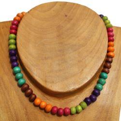 Collier mélange multicolore de perles en bois
