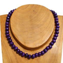 Collier violet perles en bois Un rang Pour Homme ou Femme