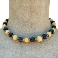 Collier perles en bois rondes et pâte de verre Noir Beige et Jaune