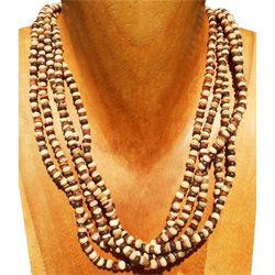 Collier bicolore rangs de perles en noix de coco naturelle