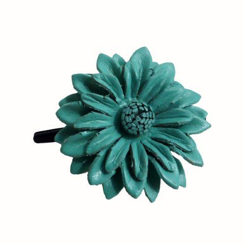 Pince à cheveux avec Fleur Bleue en cuir