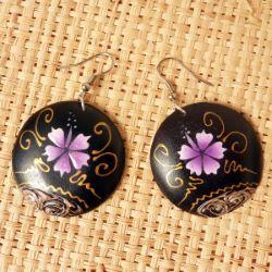 Boucles d'oreille en Bois Décor Hibiscus mauves peints à la main
