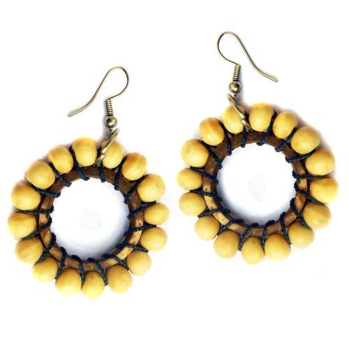 Boucles d'oreilles anneaux en coco et perles en bois naturel