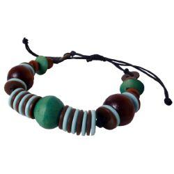 Bracelet original Perles en bois et boutons artisanal Vert Bleu Marron