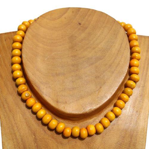 Collier bois perles jaunes Un rang Pour Homme ou Femme