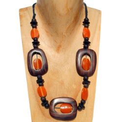 Collier Original mi-long en bois naturel et pâte de verre Orange
