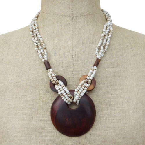 Collier Original mi-long perles de rocaille beige antique Pendentif rond en bois naturel
