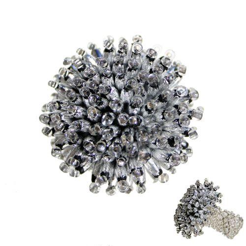Bague oursin en perles couleur argent