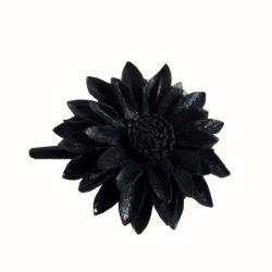 Pince à cheveux avec Fleur noire en cuir