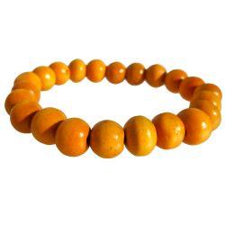 Bracelet bois jaune un rang de perles sur élastique