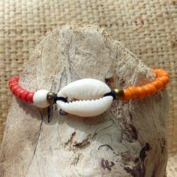 Bracelet cauri original ajustable perles oranges rouges et beige