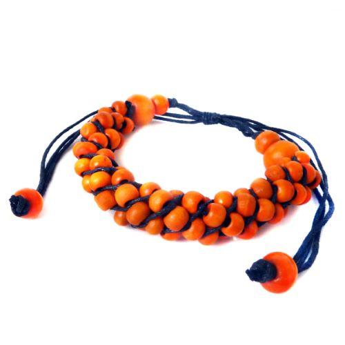 Bracelet cordon perles de bois torsade orange
