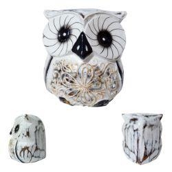 Chouette Hibou blanche en bois Artisanat décor Fleur peint à la main 8 cm
