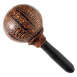 Maraca (maracas) artisanal en noix de coco décor Batik