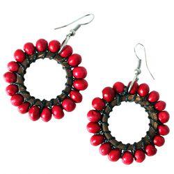 Boucles d'Oreilles bois et noix de coco perles rouge cerise