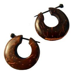 Boucles d'oreilles en noix de Coco Anneaux à Piques