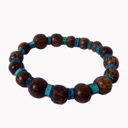Bracelet en bois de palmier surf perles rondes et vertèbres bleues