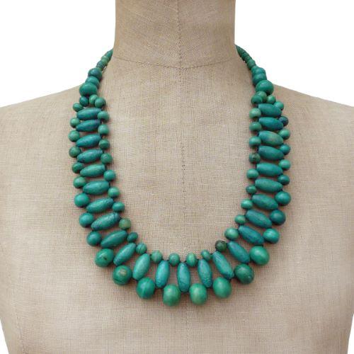 Collier Vert Bleu original en perles de bois