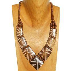 Collier Marron Plastron Style ethnique en Os Gravé
