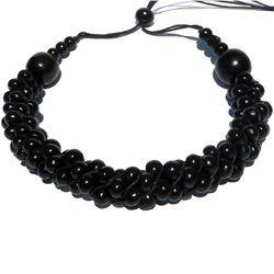 Collier Original Torsade de perles en Bois Noir Artisanal