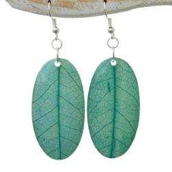 Boucles d'oreilles Originales Vert d'eau Feuilles d'arbre Végétales