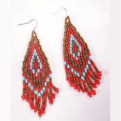 Boucles d'oreille tissées Originales Franges en perles de rocailles