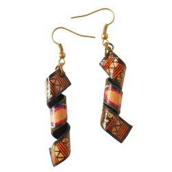 Boucles d'oreilles simili cuir Originales style ethnique artisanales
