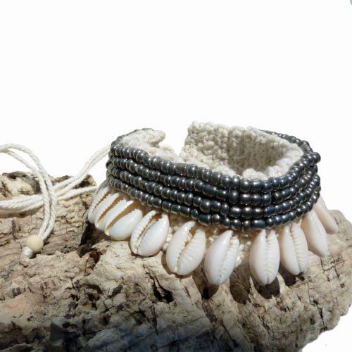 Bracelet de Cheville ou Poignet en coton et Coquillages Cauris Perles de rocaille bronze métallisé