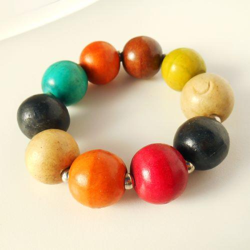 Bracelet en Bois Original Perles Boules Multicolores