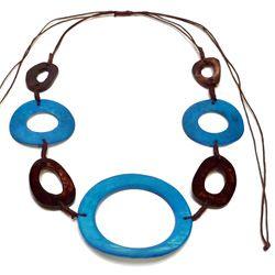 Collier ethnique création originale Cercles en os Bleu et Marron