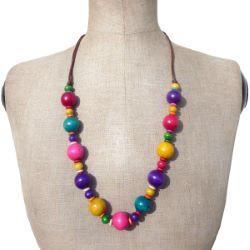 Collier en bois perles boules multicolores