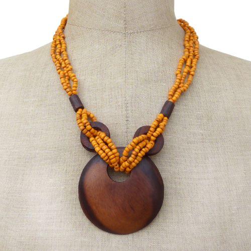 Collier Original mi-long perles de rocaille oranges Pendentif rond en bois naturel