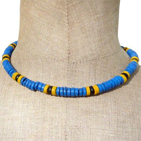 collier surf bleu jaune noir perles heishi en noix de coco artisanat balinais