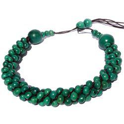 Collier Original en Bois torsade de perles en Bois Vert Bleu