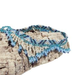 Bracelet de cheville tout en perles de rocailles Franges Bleu Beige