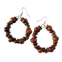 Boucles d'Oreilles Marrons Anneaux Perles en Bois et en noix de Coco